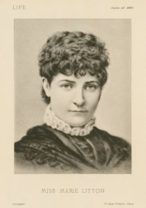 """Marie Litton. Plate from """"Life"""", October 25, 1880."""