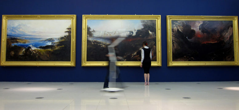 Installing John Martin paintings at the Millennium Gallery 1. Photo Museums Sheffield (small)