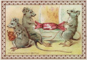 Mice Victorian Christmas Card